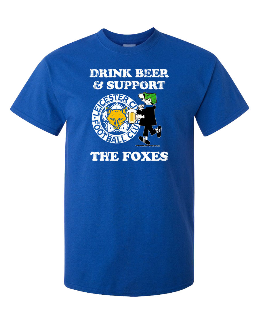 Leicester T-Shirt Foxes Premier League Footballer Soccerer Beer Alcohol Andy Capp Men Su ...
