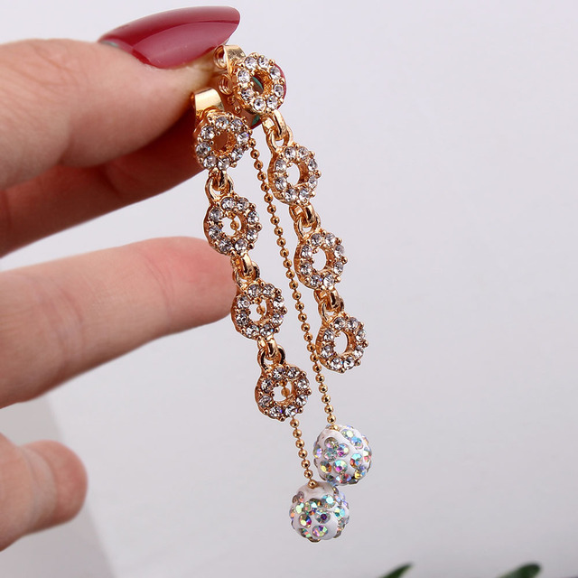 FYUAN 2018 Fashion Four Circles Rhinestone Drop Earrings Gold Color Tassel  Disco Ball Pendant Earrings for 02327cd0d1d4