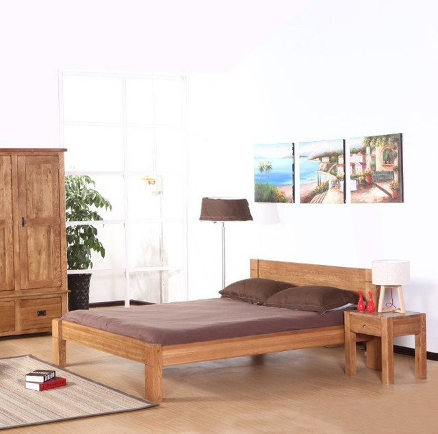 Simple Wooden Double Bed Bedroom Bed Soft Bed Oak American