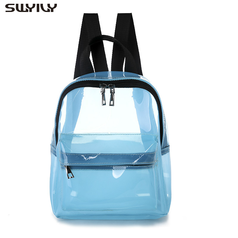 SWYIVY Plastick Jelly Shoulder Bag Woman Summer PVC Transparent Backpack Beach Holiday 2019 Lady Waterproof Backpacks For Woman