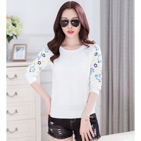 Graphic Tees Women Summer 2017 Short Sleeve Korean Tops Cotton Net Yarn Patchwork Print Tshirt Floral