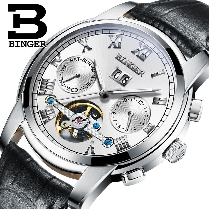 ФОТО Switzerland BINGER watches men luxury brand Tourbillon sapphire luminous multiple functions Mechanical Wristwatches B8601-2