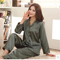 Novas Senhoras de Seda Pijamas Pijamas de Verão Mulheres Clássico de Seda Sleepwear Conjuntos Sala de Pijama Sono das Mulheres Plus Size 3XL