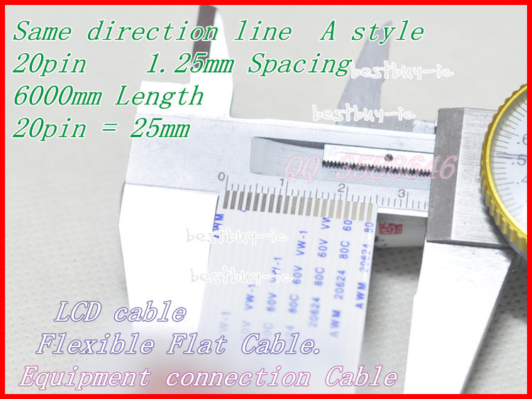 1.25mm Spacing + 6000mm Length +20P A / same direction line Soft wire FFC Flexible Flat Cable. 20P *1.25A *6000MM
