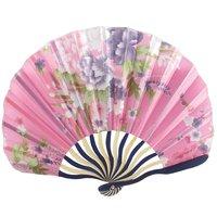 Chinese Japanese Fabric Bamboo Folding Hand Held Fan Pink