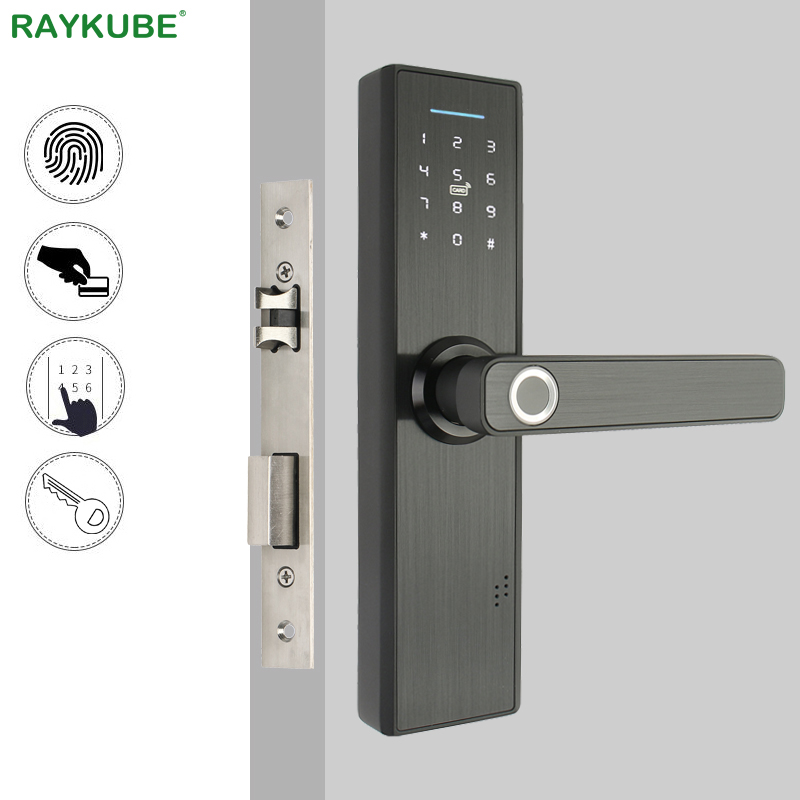RAYKUBE Biomet Fingerprint Door Lock Smart Card / Digital Code / Keyless Electronic Lock Home Office Security Mortise Lock R-FG5