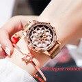 Женские кварцевые часы  часы из нержавеющей стали с магнитной сеткой и цветком  с вращающимся циферблатом  розовое золото  2019