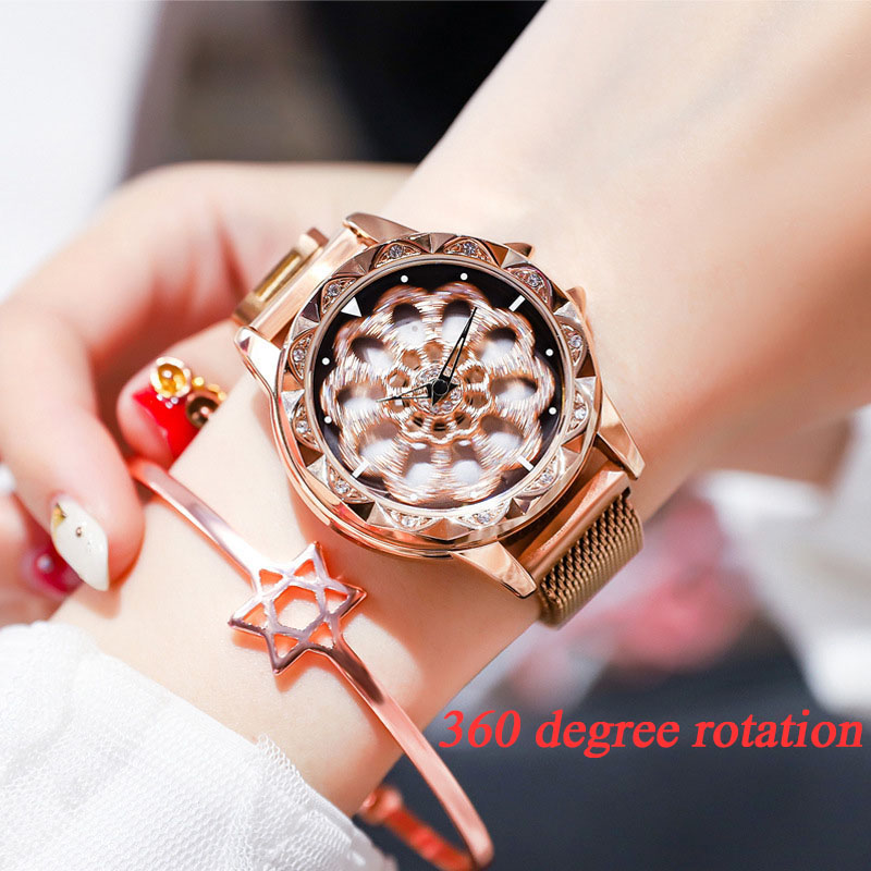 Luxury Diamond Rose Gold Women Quartz Watches 2019 Magnetic Mesh Stainless Steel Flower Rotation Dial Creative Clock Reloj Mujer