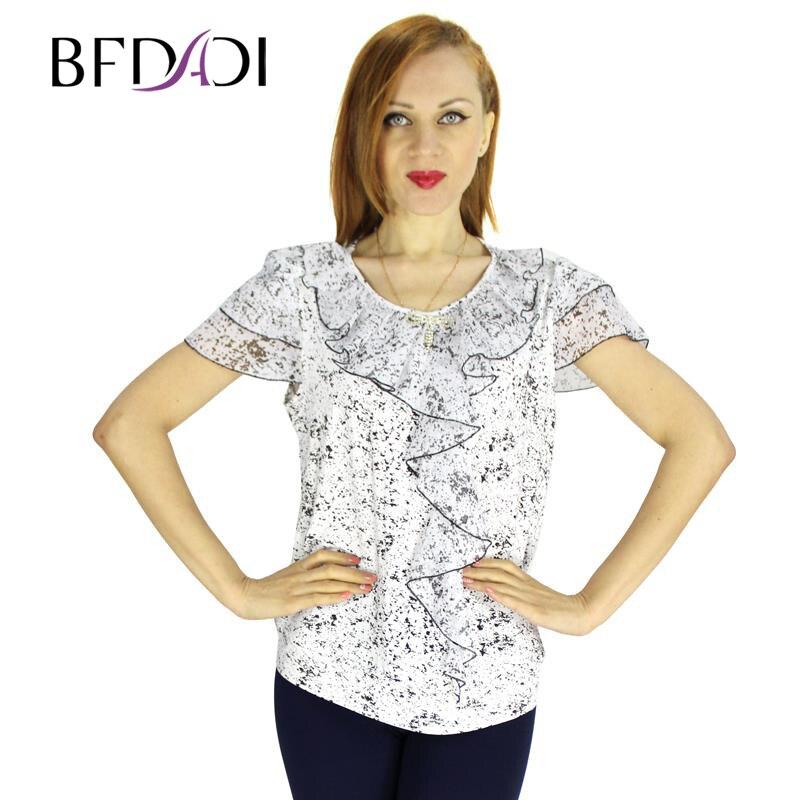 Falbala Blanc Femmes T 2016 Chemise Manches Shirt À 3257 En Coton Courtes Col D'été Tops Mode Rond T shirt Décorer Bfdadi kn0OwP