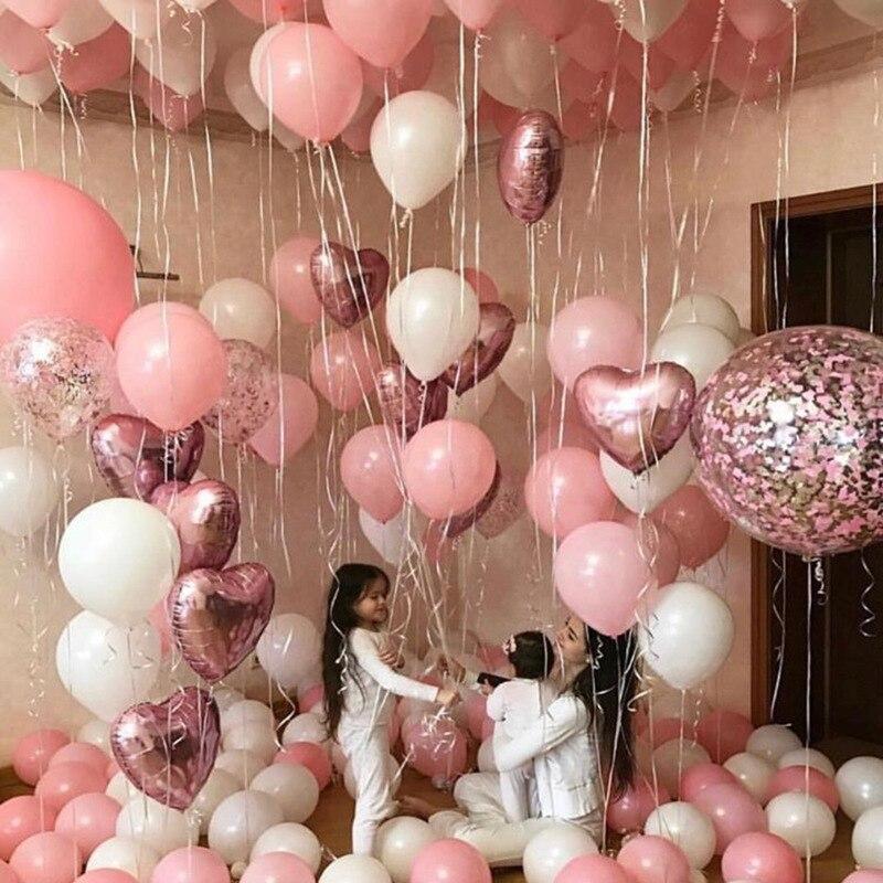 Compromiso Decoraciones Corazón Rosa Impreso Lila Helio Globos Boda Cumpleaños