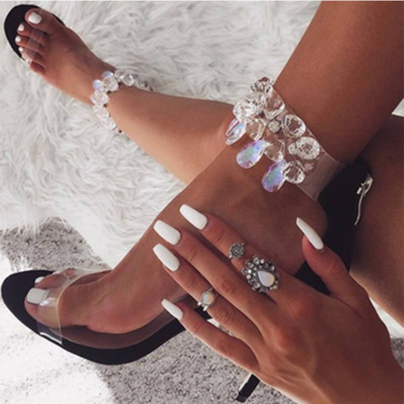 PVC Sandals Crystal Open Toed High Heels Women Transparent Heel Pumps Stiletto Heeled Sandals Wedding Party & Evening roman style women stiletto crystal heel gladiator sandals tassel transparent heels pumps sexy lady party shoe escarpins xk050506