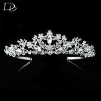 Vintage Luxury Bridal Tiara For Women Shine Austrian Crystal Queen Crown Wedding Hair Accessories 585 Gold