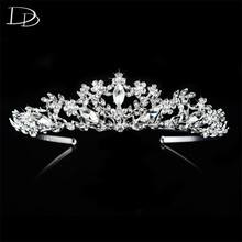 vintage wedding hair accessories bridal tiara for women Austrian crystal queen crown noiva 585 gold plated diadem jewelry HF025
