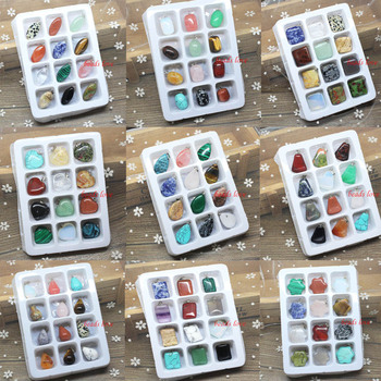 18 stylów wisiorki z kamienia naturalnego Charms 12 sztuk Multicolor okrągła kula/serce/gwiazda/kwadrat/wisiorki krzyżowe tworzenia biżuterii