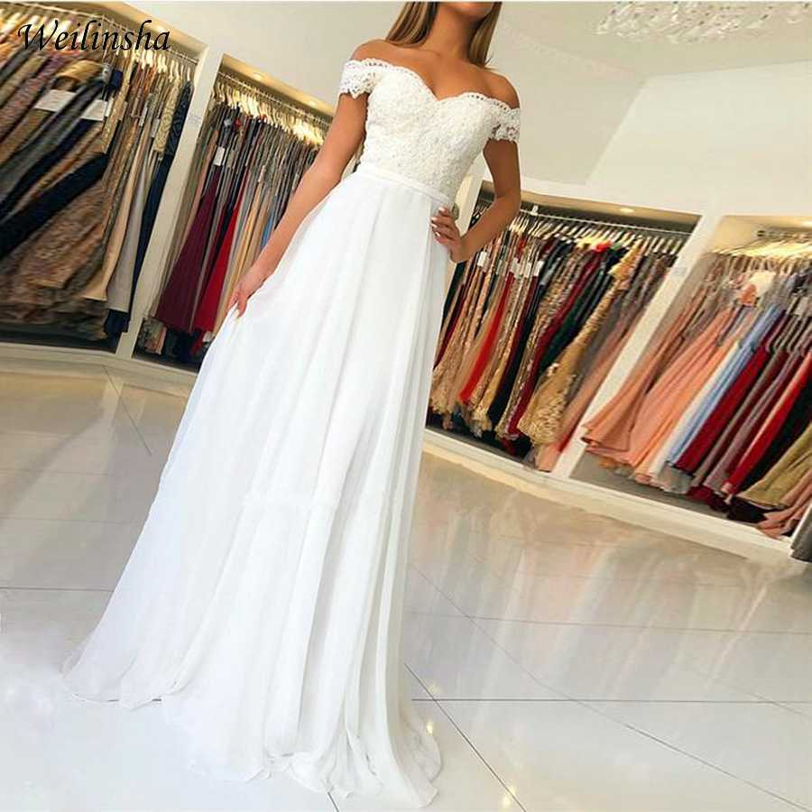 Weilinsha New Cheap Wedding Dress Off the shoulder Lace Wedding Dresses Vestido de Noiva Zipper back with Buttons