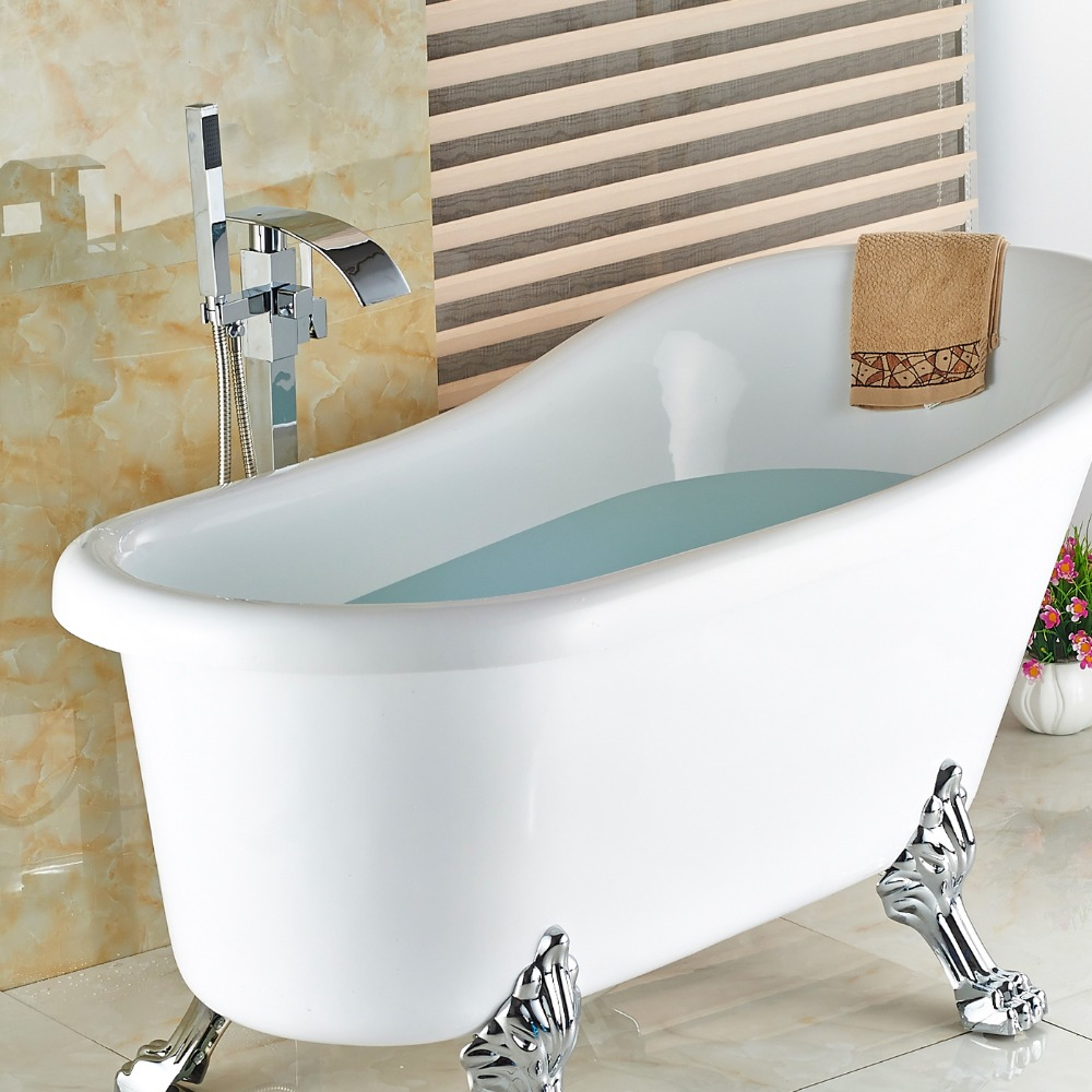 popular waterfall tub fillerbuy cheap waterfall tub filler lots  - wholesale and retail floor mounted bathroom tub filler waterfall spoutsquare mixer tap w hand