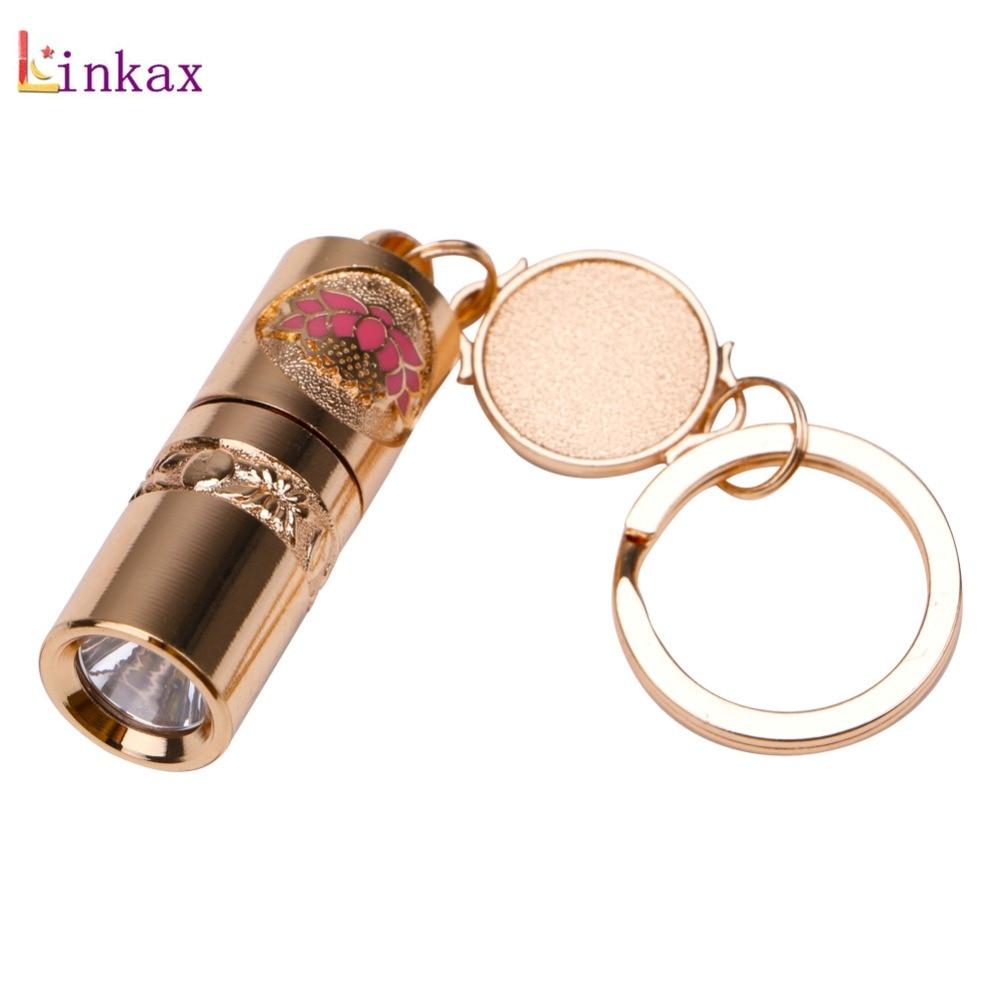 Golden Mini LED Flashlight Keychain Light Torch Key Chain Emergency Camping Lamp backpack light Built-in Battery