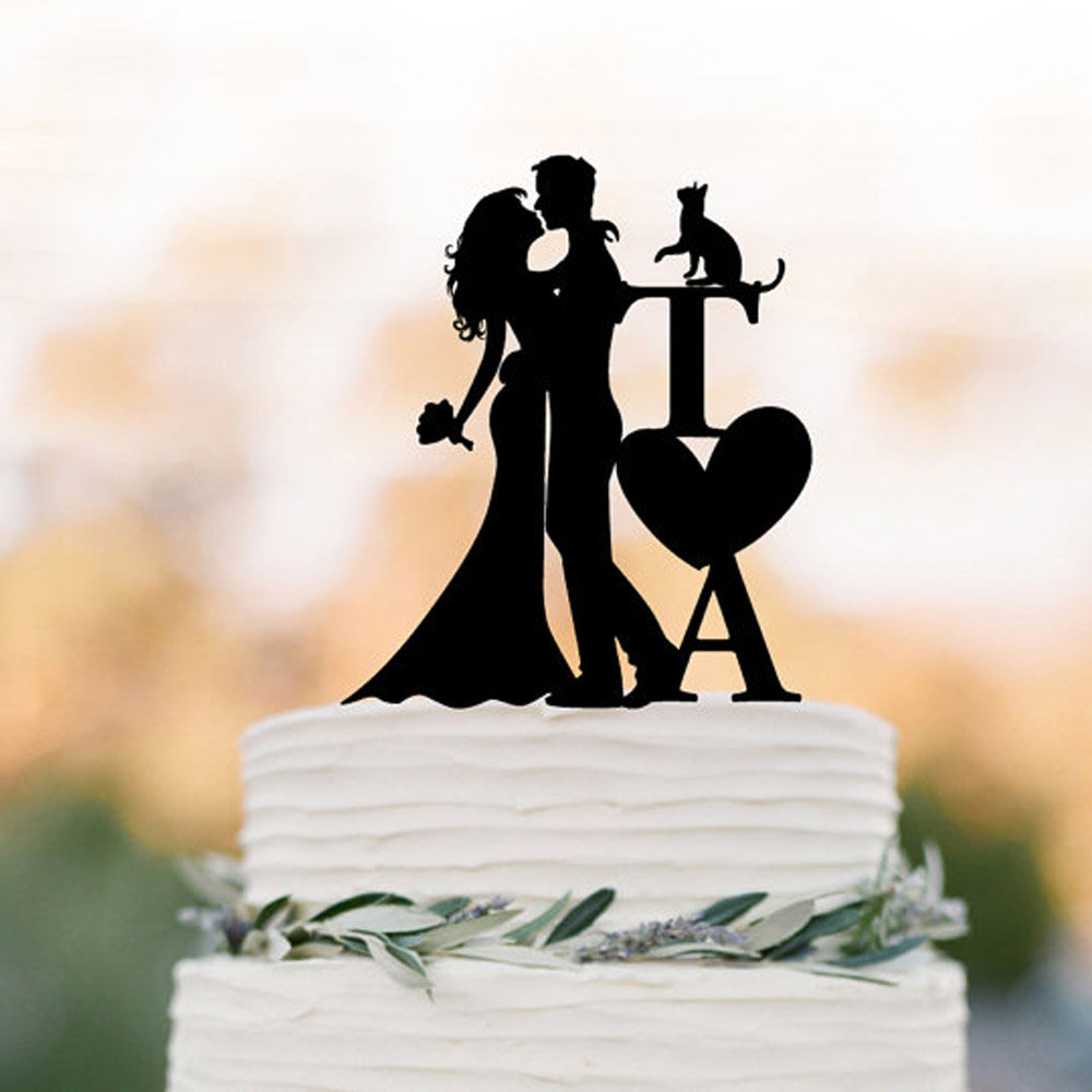 Initial Wedding Cake topper with cat bride and groom silhouette, personalized wedding cake topper letters, unique cake topper.Initial Wedding Cake topper with cat bride and groom silhouette, personalized wedding cake topper letters, unique cake topper.