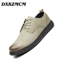 DXKZMCM Leather Brogue Mens Flats Shoes Casual British Style Men Oxfords Fashion Brand Dress Shoes For Men