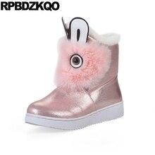 Круглый носок Серебряный обувь слипоны искусственный мех короткая зима Водонепроницаемые снегоступы ботинки женщины батильоны ботильоны каваи плоские розовый 2017 мультфильм китайский мода новый женская женский ушками