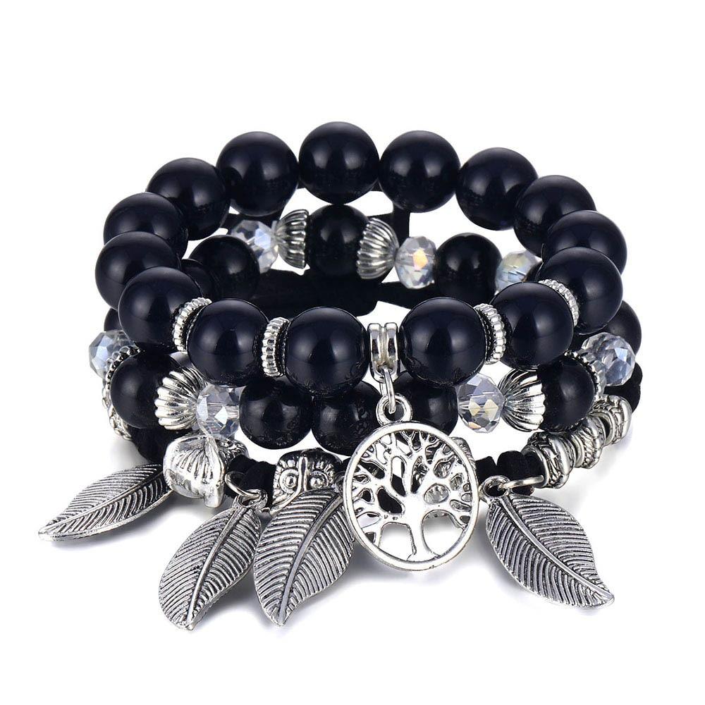 Классический Набор браслетов «Древо жизни» для женщин, многослойный винтажный браслет из натурального камня в виде листьев, браслеты и браслеты, ювелирные изделия, подарки - Окраска металла: S358-1