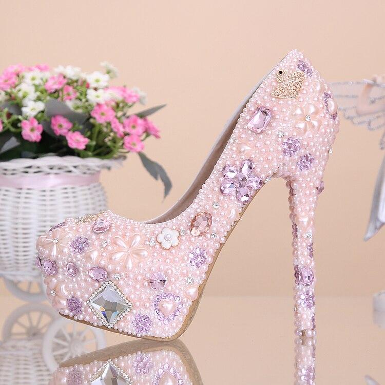 Pink flower pearl wedding shoes women rhinestone up high heels single pumps platform shoes princess wedding shoes