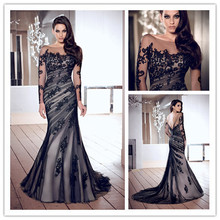 New Fashion Scoop Long Sleeve Open Back Dress Party Evening Elegant Black Mermaid Prom Gowns 2014 Arrival