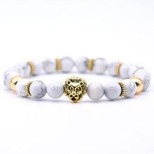 KANGKANG Charm Lion head Bracelet Classic Natural Stone 18 styles Bead Bracelets for Men Women Best Friend Hot Selling 2018