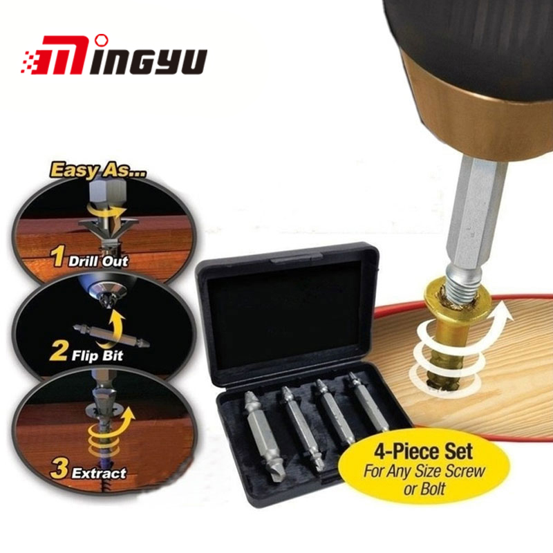 4Pcs Screw Extractor Drill Bits Guide Set Broken Damaged Bolt Remover Double Ended Damaged Screw Extractor