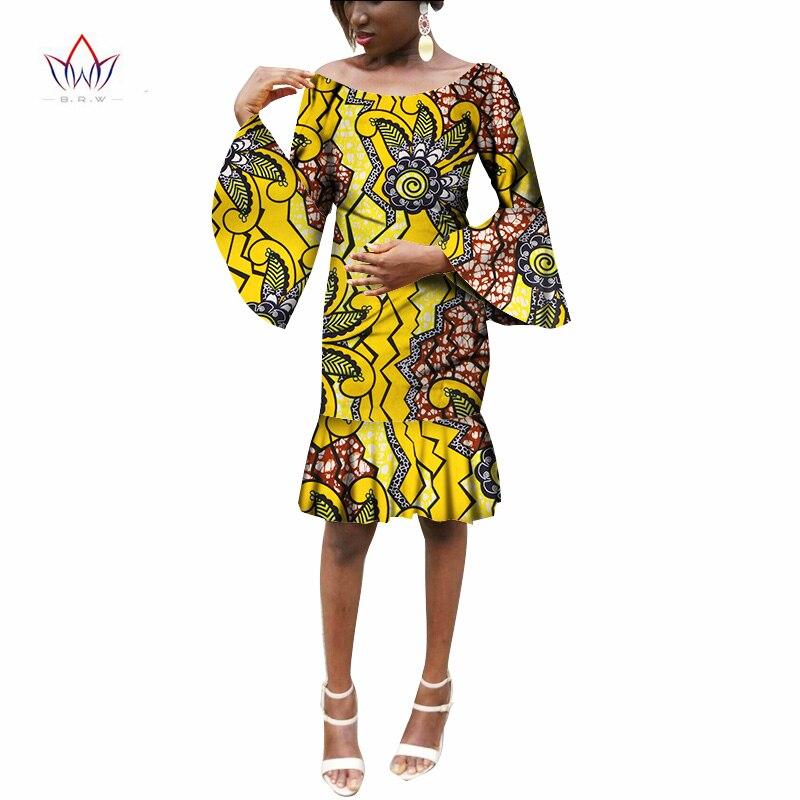Las mujeres africanas ropa Mini sirena vestidos de fiesta africano Bazin  Riche más tamaño mujeres vestidos 72d9af3a688