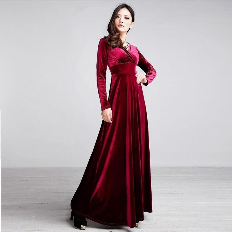 07aacf68a0f 2018 Winter Women Plus Size 3XL Velvet Dress Long Sleeve Maxi Dress Evening  Party Vintage Dress