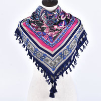 Woman Soft Small Flowers Cashew Tassels Square Scarf Winter Cotton Charm Scarves Girl Warm National Style