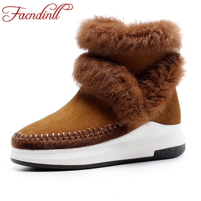 FACNDINLL new autumn winter women warm snow boots wedges high heels round toe platform shoes woman real fur casual ankle boots rizabina size34 43 women half knee high boots vintage flats heels lace up warm winter fur shoes round toe platform snow boots