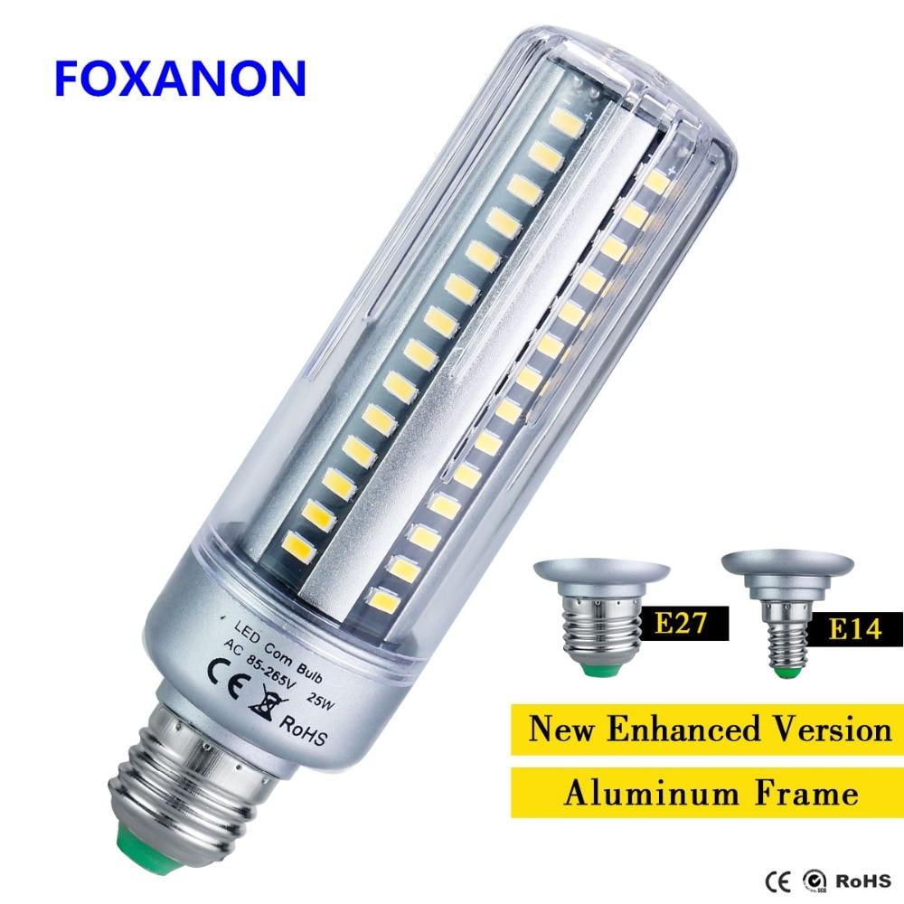 Foxanon полный Вт 25 Вт 20 Вт светодио дный лампы кукурузы E27 E14 5 Вт 7 Вт 9 Вт 15 Вт AC85-265V без мерцания 5736 лампы долгий срок службы свет освещения