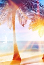 Laeacco Cartoon Sunshine Coconut Tree Seaside Scene Photography Backgrounds Customized Photographic Backdrops For Photo Studio