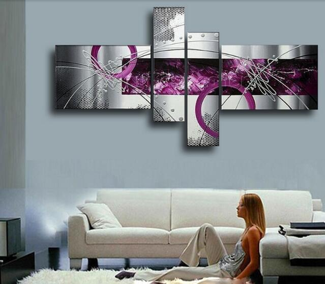 4 Pieces Set Modern Abstract Grey Silver Lines Purple Oil Painting On Canvas  Wall Art Home