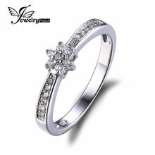 JewelryPalace Flower Cubic Zirconia Anniversary Wedding ceremony Band Ring Real 925 Sterling Silver 2016 New High quality Jewellery For Girls
