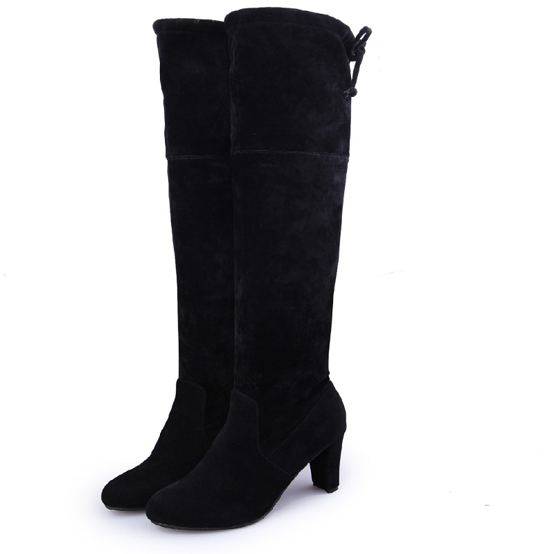 2018 winter new high-heeled suede womens boots Korean version of the thick with fashion round head back tie black ljj 11082018 winter new high-heeled suede womens boots Korean version of the thick with fashion round head back tie black ljj 1108