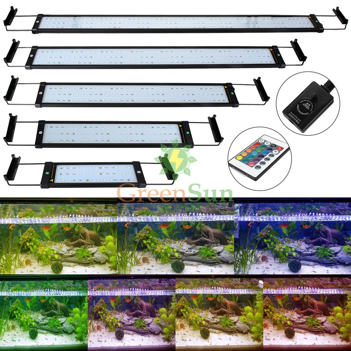 EU Plug UK Plug RGB <font><b>LED</b></font> Fish Tank <font><b>light</b></font> Colorful Aquarium Fish Tank <font><b>Light</b></font> Aquarium Decor Clip Lamp 6W 11W + 24Key Remote