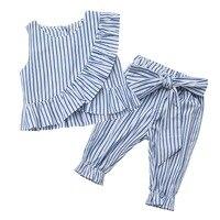 YorkZaler 2 unids/set verano niña ropa niños ropa sin mangas volantes rayas chaleco camisa pantalones nudo de la mariposa