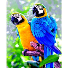 Penuh Diamond Bordir Berwarna Parrot Cross Stitch Lukisan 5D Square Aksesoris Dekorasi Berlian Imitasi Mosaik Stiker Burung Yy(China)