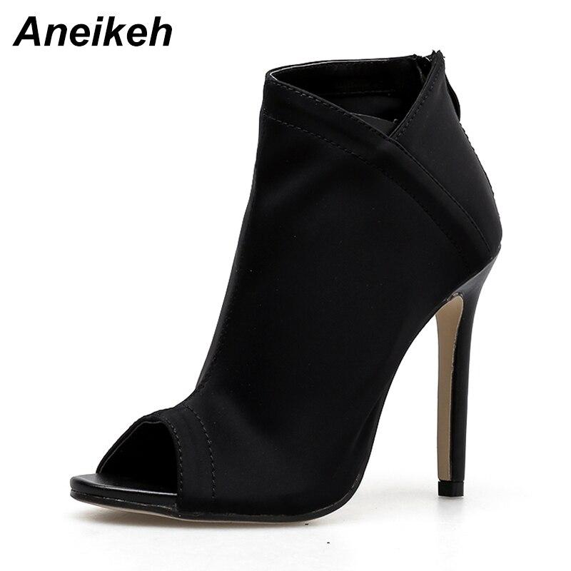 Black Botas Bottes Nouveau Femmes Chaussures Automne Mode Toe Zip Cheville Mujer Aneikeh Aiguille Stretch Talon Tissu Haute Peep apricot De 2018 f7b6gy