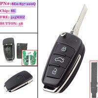 (1PCS )8E0837220Q 433Mhz 8E0 837 220A 220R 220N ID48 Chip HU66 Auro Flip Remote Key Car Remote Folding For Audii A4 TT Q7