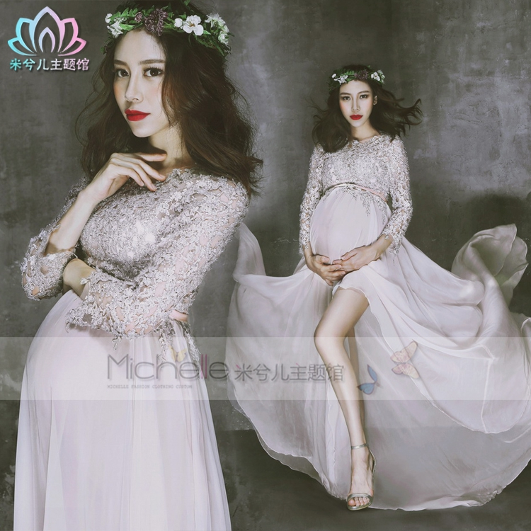Qyflyxue Dresses Pregnancy & Maternity Aternity Photography Dress Silver Grey Gown Two Layer Gauze Studio Pregnant Women Long Dress Photo Shoot Fancy Costume
