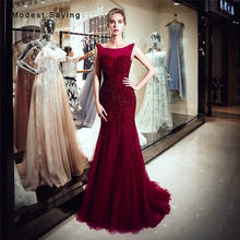 Luxury Dark Red Mermaid Boat Neck Evening Dresses 2019 with Dense Beading  Formal Backless Sparkly Engagement Party Prom Gowns 8f2ec75fafb8
