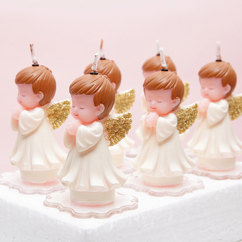 Creative White/gold cartoon baby angel candles child birthday candle Festival party cake candels decor Smokeless technology 1