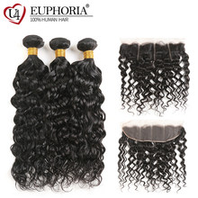 Water Wave Human Hair 3/4 Bundles With Lace Frontal 13x4 EUPHORIA Brazilian Natural Color Hair Weaves With Closure Non Remy Hair(China)
