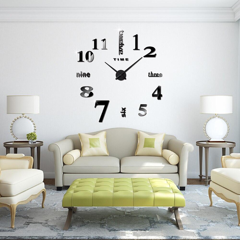 original accueil dcoration horloge murale grand miroir horloge murale design moderne grande taille mur horloges diy wall sticker cadeau unique dans - Grand Miroir Mural Design