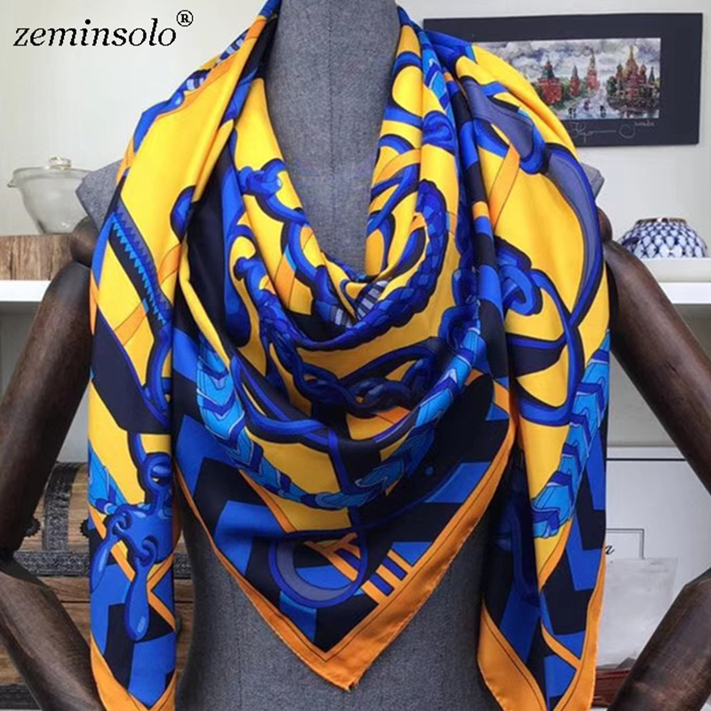 100% Twill Silk Scarf Scarves For Women Hijab Design Print Chain Square Silk Scarves Shawls 130*130cm 2019 Female Bandana Wraps