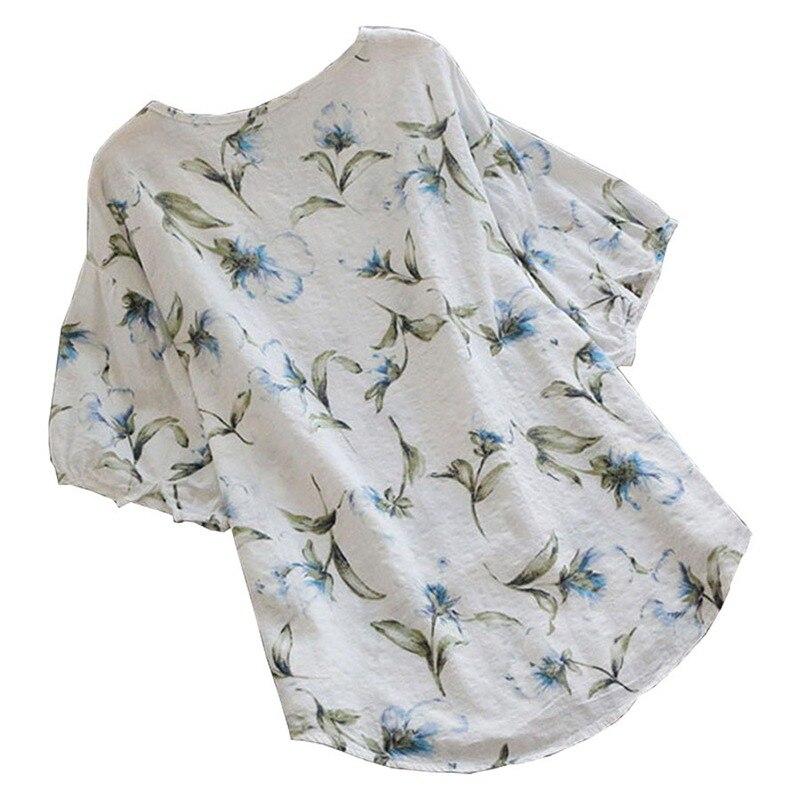 Spring Summer Linen   Blouses     Shirt   Women Tops Beach   Blouses   Half Sleeve Boho Printed   Shirt   S-5XL